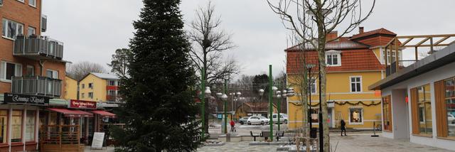 Vinterbild om än snöfattig av julgranen på Rönninge torg med nya bänkar och planteringar i förgrunden.